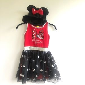 Minnie Mouse Hooded Sleeveless Dress Red Size 6/6x